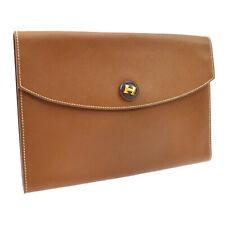 HERMES Pochette Rio Clutch Hand Bag Purse Brown Couchevel France A36737e