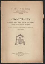 PASCHALIS DE SIENA - COMMENTARIUS CENSURAM JUXTA NOVUM CODICEM JURIS CANONICI