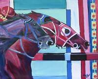 Huge HORSE RACING Original Art MODERN PAINTING DAN BYL Signed Canvas Investment