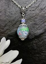 Glass Jewels Schöne Kette Halskette Lampwork Perle Blume Blüte Filigran #MA038