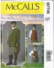 Mens Scottish Highlander Outlander Kilt Jacket Vest Sewing Pattern 46 48 50 52