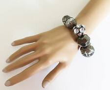 Gorgeous Hematite Dark Silver Tone Beaded Bracelet with Diamante Elasticated