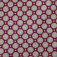 DOLCEPUNTA Mens Berry Red Gray GEOMETRIC Self-tipped Handmade Silk Tie Italy EUC