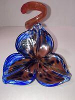 Authentic Murano Art Glass Flower Blue Orange Spiral Stem Hand Blown Sculpture