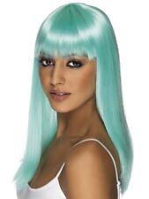 Neon Aqua Glamourama Wig Long Straight w/ Fringe Smiffys Fancy Dress Costume