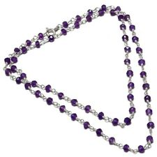 """Amethyst Natural Beaded Gemstone 925 Sterling Silver Necklace 18"""" SN-9"""