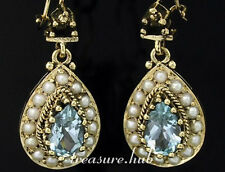 CE263- BREATHTAKING Genuine 9ct SOLID Gold Natural TOPAZ & PEARL Earrings