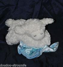 Peluche Doudou Mouton Blanc Parlant GUND BABY Couverture Bleue 21 Cm TTBE
