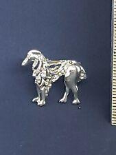 - tail is missing Rhinestone Dog pin Brooch