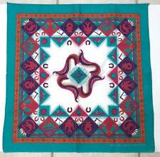 Vtg Southwestern Bandana Turquoise Tribal Aztec Cotton Usa Large Face Covering