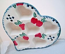 Heart Shaped Stoneware Chaparral country Apple red blue Ceramic 6 Muffin Pan