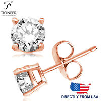 Sterling Silver 925 Rose Gold Plated Brilliant Round Cut Clear CZ Stud Earrings