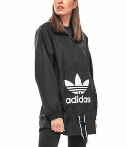 adidas Originals Women's Oversized Windbreaker Trefoil Logo Wind Jacket Coat