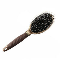 Natural Boar Bristle Oval Hair Brush Comb Scalp Massage Beech Wooden Handle Comb
