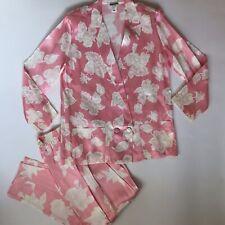 Vintage LeRenard pantsuit pink white floral 1980's