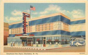 Charleston West Virginia Greyhound Bus Depot Spencer Teich Postcard 21-5168