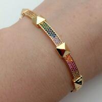 5Rainbow cubic zirconia Gold color fashion women cuff bangle bracelet