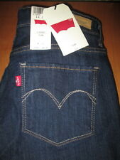 LEVIS Size 14 Mid Rise Slim Fit Through Thigh Flare Dark Denim Jeans Womens New