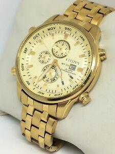 Citizen Mens 6870-S068631 Gold Watch Stainless Steel Bracelet Chronograph Alarm