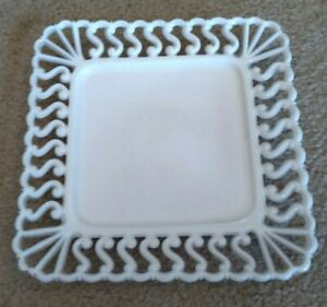 "Antique White Milk Glass Lace Edge Plate Atterbury 7 1/2"" Square ""S"" pattern EC"