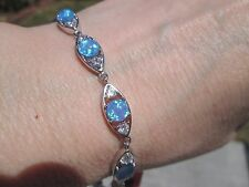 Lab Created Opal Sterling Silver Bracelet (8.5-8.75 inch) TGW 9.69 cts.