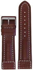 24mm Panatime Light Brown Dimo Leather Pilots Watch Band w/ White Stitch 120/80
