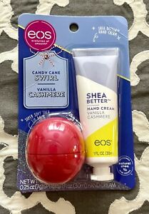 Limited Edition Eos Candy Cane Swirl Super Soft Shea Lip Balm Vanilla hand Cream
