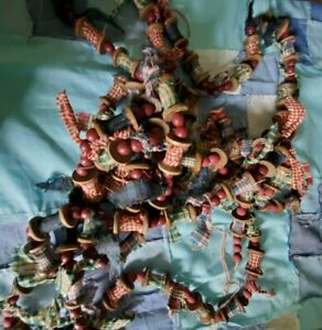 Primitive Country Wood Bead and Spool Bead Garland
