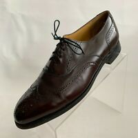Johnston Murphy Optima Mens Oxford Brown Leather Wingtip Brogue Shoes Sz 9.5D/B