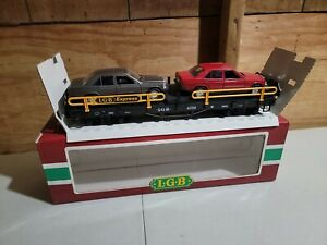 LGB G SCALE #4059 LGB EXPRESS. FLAT 2 CAR CARRIER- W/ 2 MERCEDES 190E NICE W/BOX