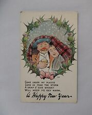 c1900 Colour Greetings Postcard. Come under my Plaidie/ Happy New Year. Scotland