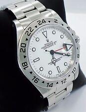 Rolex Explorer II 16570 GMT Stainless Steel Date White Dial Men's Watch *MINT*