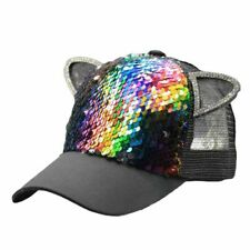 Summer Girls Dome Hat Baseball Cap Sequins Ear Parent-child Mesh Cap Adjustable