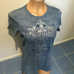 COWGIRL UP Blue Embellished Embroidered Tee Tshirt - Women's Jrs L - NEW