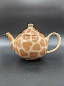 Zimbabwe Africa Yellow Brown Giraffe Animal Print Ceramic Teapot With Lid