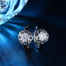 Exquisite Fashion Jewelry 18K White Gold Plated Flower Crystal Hoop Earrings