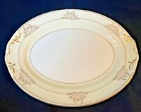 "Crown Potteries Co China Platter 13"" Oval Serving Dish Gold Filagree Border USA"