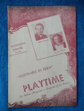 Eastward In Eden - Plymouth Theatre Playbill - November 4th, 1947 - Straight