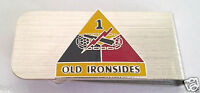 1ST ARMORED DIVISION US ARMY MONEY CLIP STAINLESS Military Veteran 14740-MC HO