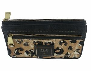 Fossil Leopard Pony Hair Black Leather Zip Pocket Snap Wallet Clutch