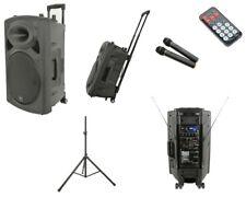 QTX QR12PA Battery + Mains Portable PA Speaker System 2x Radio Mic + USB + Stand