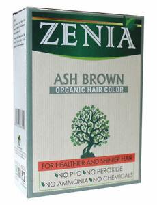 Zenia Organic Henna Hair Color Ash Brown 100g + free gift