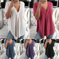 Women Summer Blouse Tee Shirt Short Sleeve T-shirts Casual V Neck Tops Plus Size