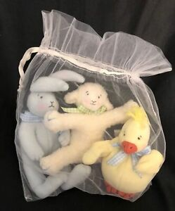 Bunnies By The Bay RATTLE Gift Set Plush Bunny Lamb Duck EDDIE BAUER Unused!