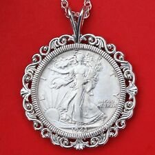 US 1943 Walking Liberty Silver AU Coin Solid 925 Sterling Silver Necklace NEW