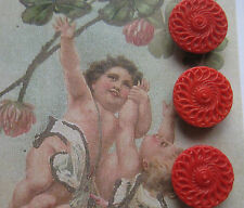 """Set of 6 Vintage 1/2"""" Red Lacy Glass Buttons~Pre Wwii ~new/old stock"""