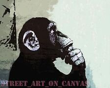 Banksy canvas print Thinker Monkey Graffiti Giclee 16 x 20 inch