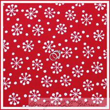 BonEful Fabric Cotton Quilt Red White Xmas Holiday Disney Minnie Snowflake SCRAP