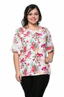 New Women's Plus Size White Bright Floral Print Top (Blouse) Sizes 1X 2X 3X