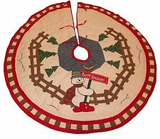 """Snowman Christmas Quilted Christmas Tree Skirt 46"""" Round Happy Holidays Fence"""